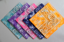 wholesale polyester tie dye ombre paisley bandana