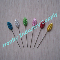 55mm Wheel Packing Colored Leaf Shaped Crafts Making Pearl Head Pin