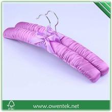 beautiful bowknot chromed hook satin hanger wholesale