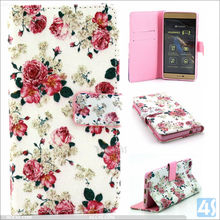 New high quality in stock China supplier printing wallet pu leather case for huawei p8