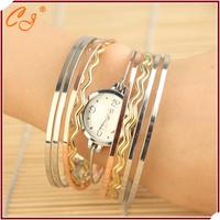 Luxury lady Glamour Charm Bangle Bracelet watch Fashion women 3 tone Quartz wrist Watch