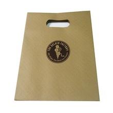 die cut handle embossed kraft paper bag