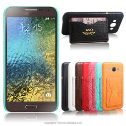 Wallet Crocodile Leather Hard Back Case for Samsung Galaxy E5 Back Cover Mobile Accessories