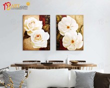 Chinese Beautiful Custom Flower Oil Canvas Group Paintings