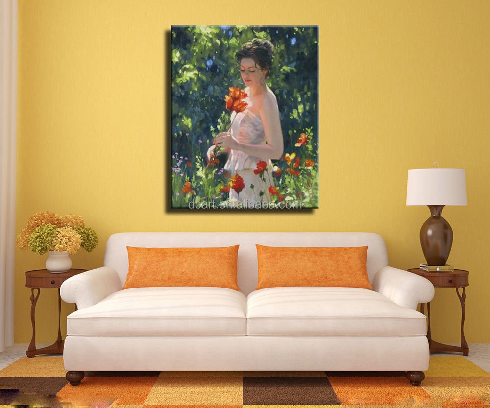 Beautiful Girl Oil Painting With White Dress Holding White Umbrella ...