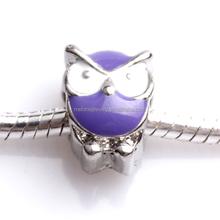 Popular Special Design Purple Enamel European Owl Zinc Alloy Charms Big Hole Animal Beads