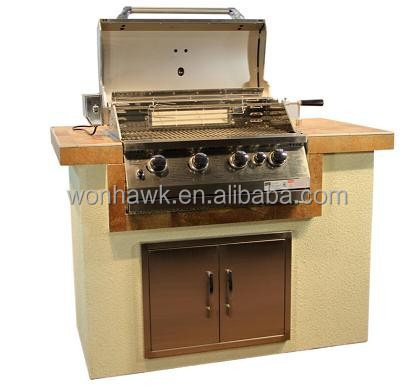 Luxury bbq island built in gas bbq grill with pizza for Luxury oven
