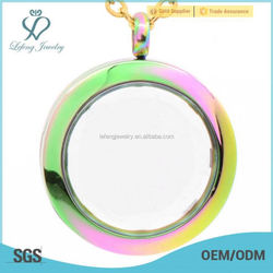 Beautiful ladies stainless steel jewelry 25mm round rainbow glass memory floating charms lockets wholesale uk