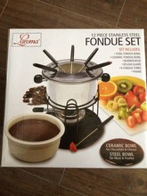 12 pieces stainless steel fondue set