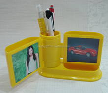 Plastic Picture Insert Table id card photo frame with pen holder