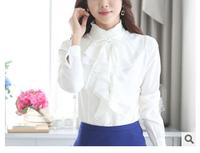 Lastest Fashion Lady High Collar Shirt Solid Color Fashion Lady High Collar Shirt Long Sleeve Fashion Lady High Collar Shirt