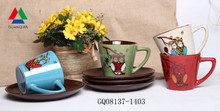 Personalized tea cup & saucer ceramic reactive glaze coffee mug