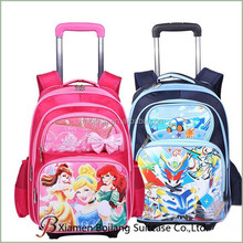 wholesale waterproof cartoon backpack trolley school bag with wheel