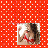 red with white polka dot spandex lycra fabric for swimwear