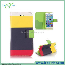 Hot Selling Rainbow Stripes Wallet Leather Flip Case for iPhone 6 4.7 inch with Strap and Card Slots, Black+Yellow+Red