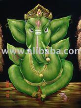 GANESHA ART India GOD HANDICRAFT OIL PAINTING ON VELVET