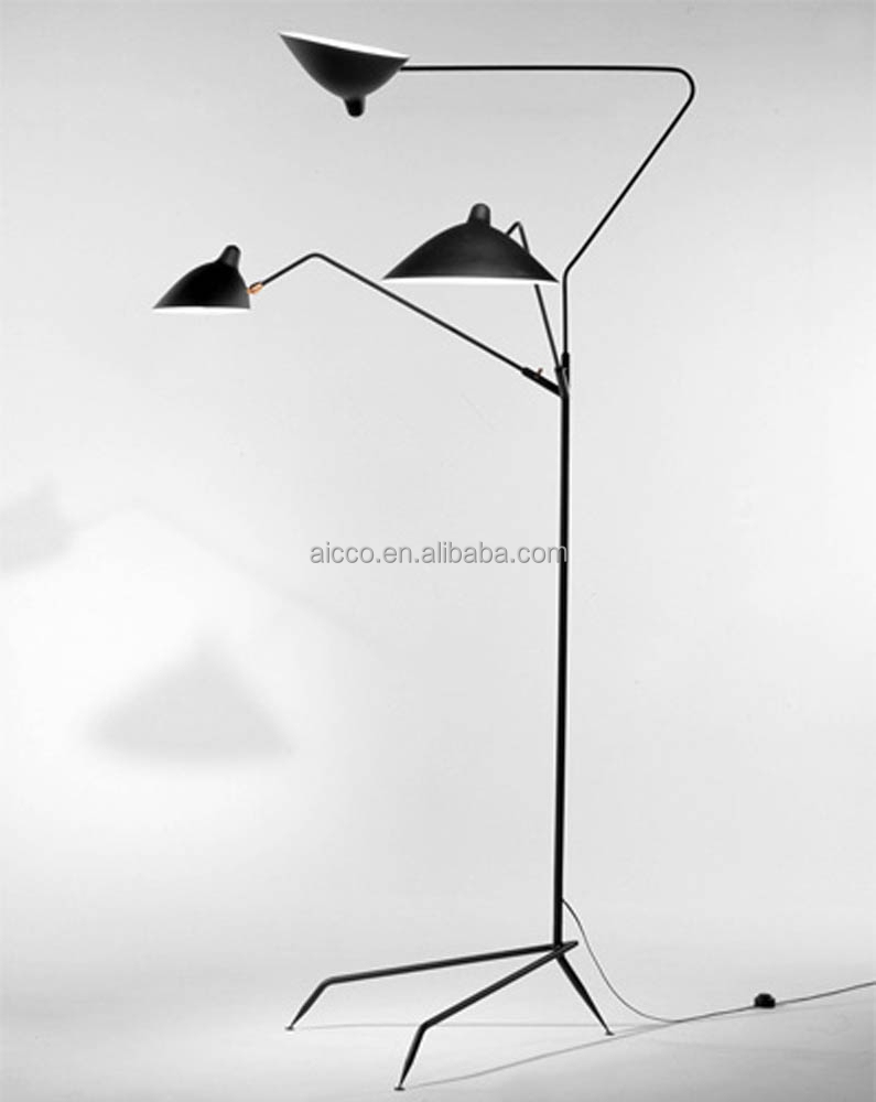serge mouille 3 arm three arm floor standing lamp designer modern. Black Bedroom Furniture Sets. Home Design Ideas