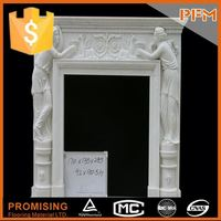 China factory price natural stone hand-craved yellow marble outdoor fireplace frame