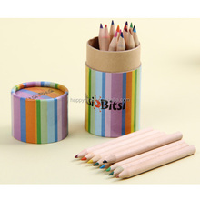 Multi Color Wood Pensil and Wood Crayon In Tube Container