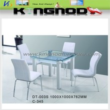 China furniture Modern Square Curve Glass Dining Table in big size