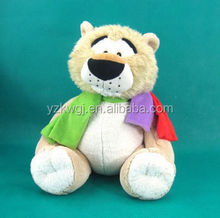 Plush Lion Toy with Colorful Scarf Sitting High 50cm with Big Black Nose