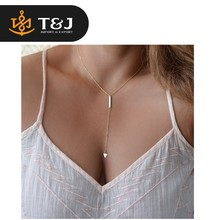 2015 hot sale fashion jewelry punk bar circle lariat triangle metal chain necklace