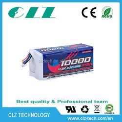 High quality high discharge rate 10-20C 12V 10000mah li polymer battery for RC plane