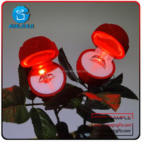 LED battery operated flashing lights with ring box artificial rose flower