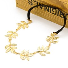 Fashion gold alloy leaf head piece hair chain metal hair band for women