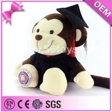 Factory plush monkey names,stuffed adorable monkey with cap,custom stuffed dress monkey