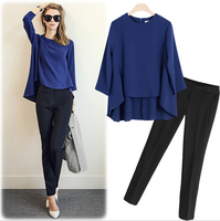 WA2174 European latest style fashion long sleeve chiffon shirt and pencil pants suit for women
