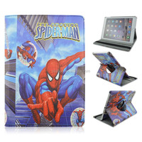Jumping Spider-man PU Leather Smart Tablet Case For iPad air 2, Rotary Flip Stand Cover Case Factory Wholesale