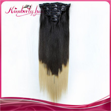 Fashion ombre color clip in human hair extensions good quality direct factory price