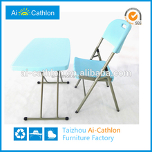 Foldable computer plastic kids study table and chair with simple designs