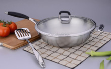 Chinese cooking range with 2 induction woks with glass lid