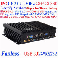 Industrial computer workstation with USB 3.0 Dual Gigabit LAN 4 RS232 Auto Boot Intel Celeron C1037U 1.8Ghz 2G RAM 32G SSD