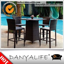 DYBAR-D540F Danyalife Open Air Restaurant Synthetic Rattan Bar Table and Chair