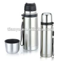 Classic bullet type stainless steel vacuum water bottle with carry strap 350ml, 500ml