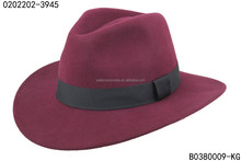 Unisex burgundy color 100% wool felt fedora with wide brim to decorate