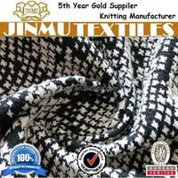 JINMU textiles Black/White Spandex Cotton Polyester CVC Double Knit Jacquard Fabric For Garment