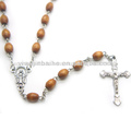 Brown católica rosario de madera. Jbh201401-65