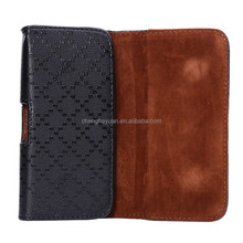 High Quality Grid PU Hanging Waist Holster Belt Clip pouch Case for apple iphone 6plus