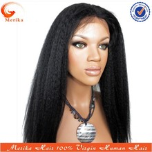In stock coarse yaki full lace wigs indian remy, 100% indian human hair wigs