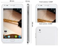 """Dapeng A9277 Android4.0 Smartphone: 5"""" Screen, MTK6577, MTK 6577, 6577, WCDMA+GSM, 8.0MP, GPS, TV, WiFi --White&Black, wholesale"""