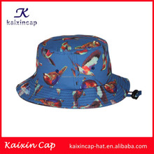 OEM custom sublimation print no logo/embroidery printed floral animal birds inside with string bucket hat