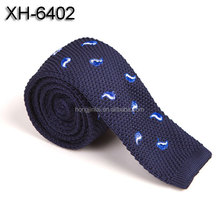 Handmade Polyester Knitted Neckties blue color fashion print ties for adult XH6402