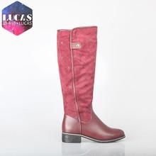 H1521-y563 pu+ suede botas de vino rojo botas para dama hermosa