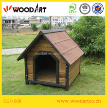 Single brown pointed roof wooden dog kennel