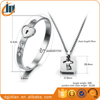 Lovers Jewellry Gift Silver Gold Rose Gold Stainless Steel Bangle And Necklace Jewelry Set
