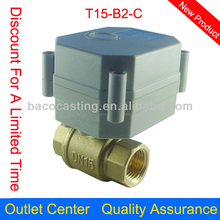 """1/2"""" DN15 Water Electric Valve, AC/DC 9V-36V Brass Motorized Ball Valve T15-B2-C, 3 Wire Control"""